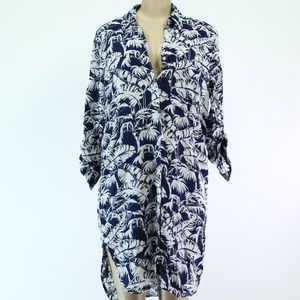 L.O.G.G. Blue and White Button up Dress sz 8